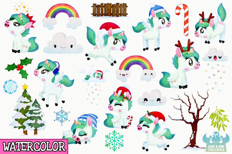Christmas Unicorns 1 Watercolor Clipart, Instant Download example image 2