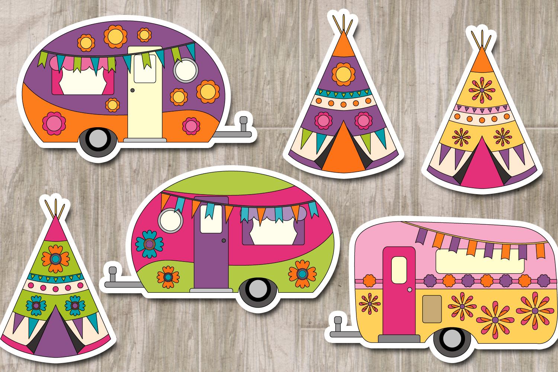 Happy camper Teepee Tent - Spring Caravan Graphics example image 2