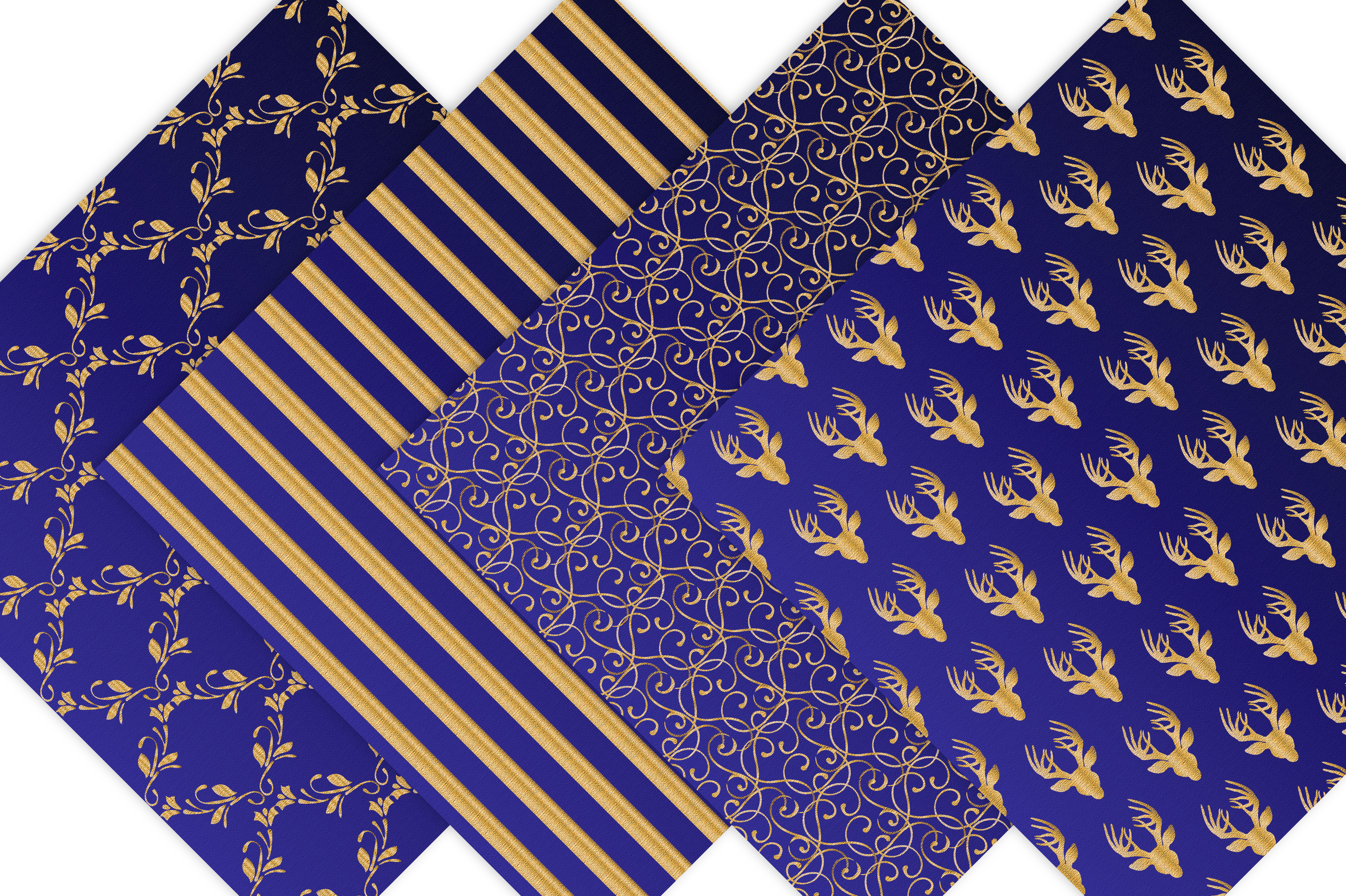 Royal Blue and Gold Digital Backgrounds example image 7