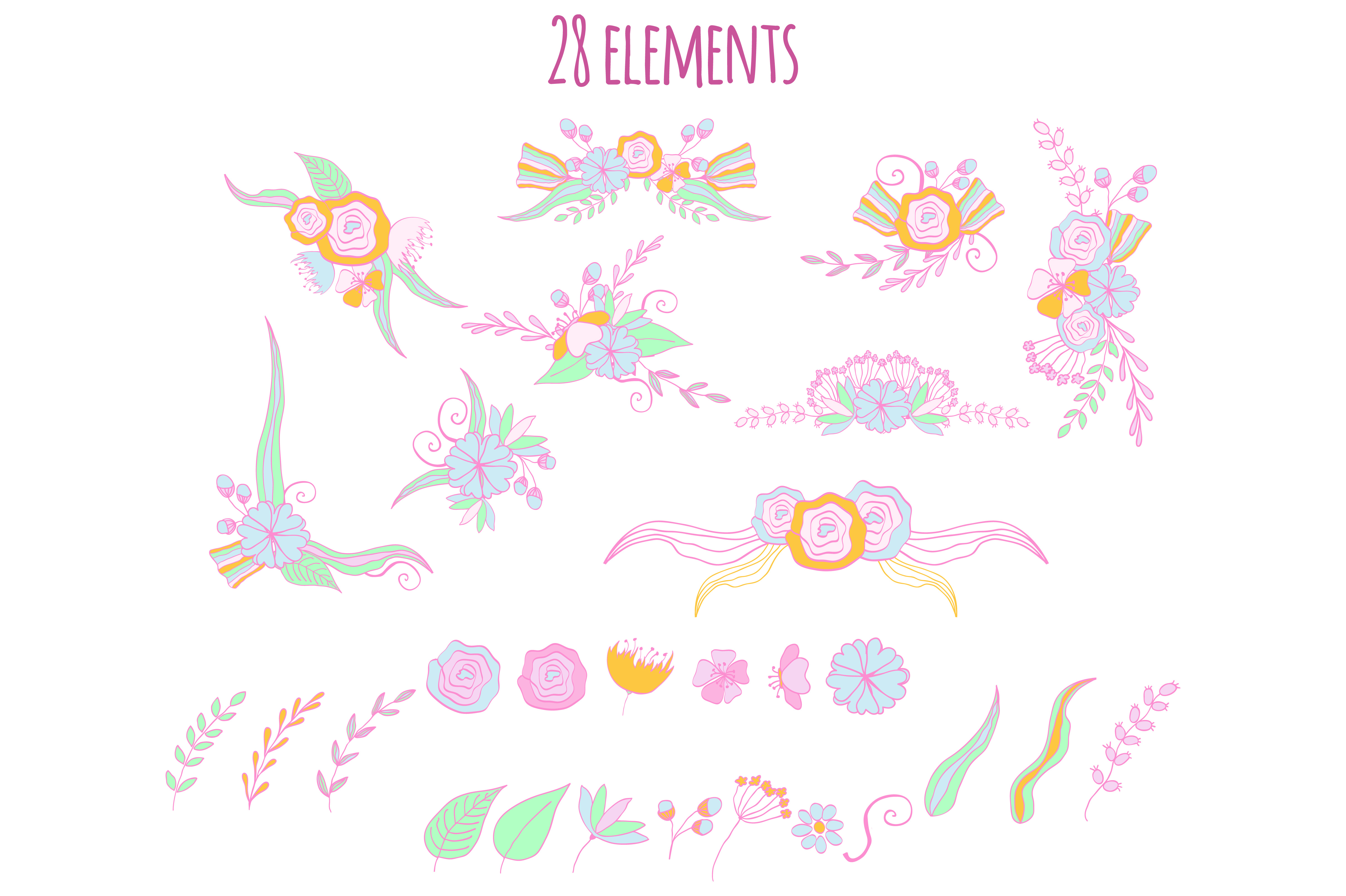 Doodle Floral Clipart example image 3