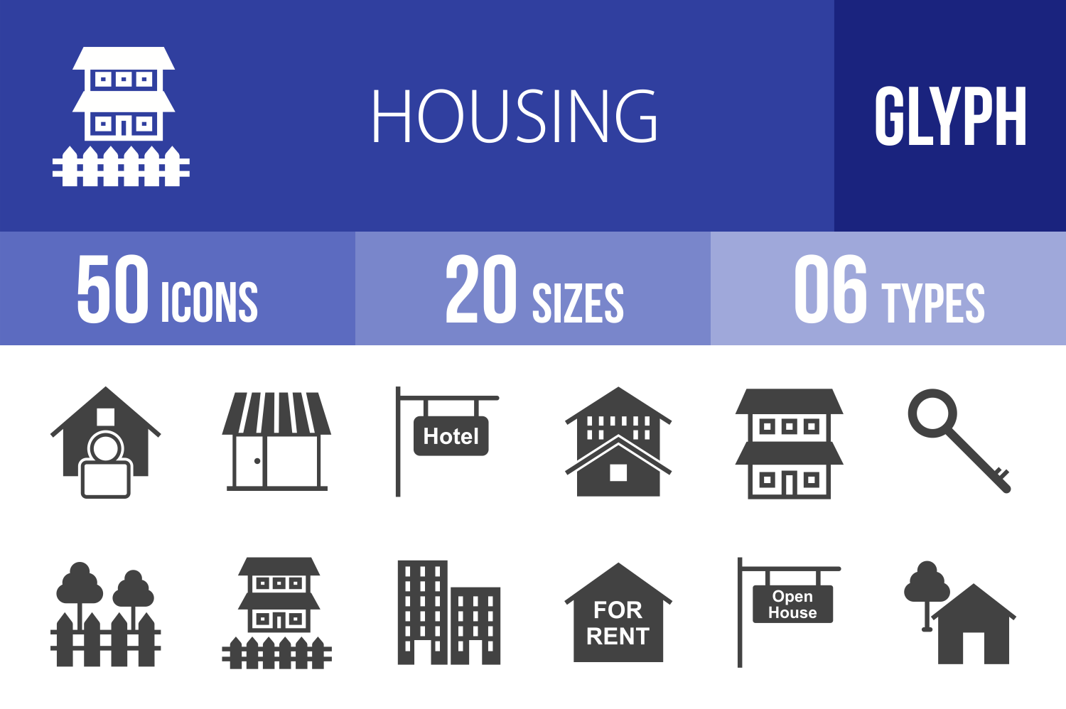 50 Housing Glyph Icons example image 1