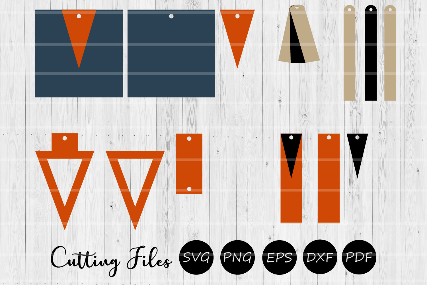 Stacked Earrings | SVG cutting files | Commercial use | example image 1