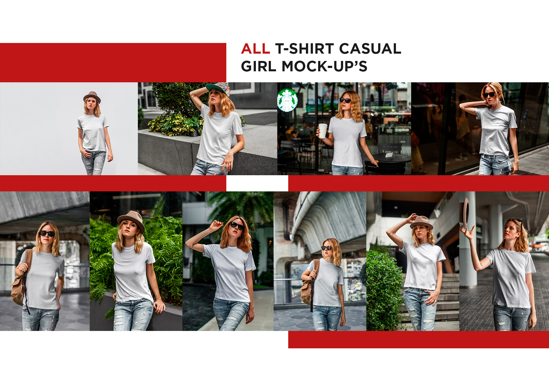 T-Shirt Mock-Up's Casual Girl example image 7