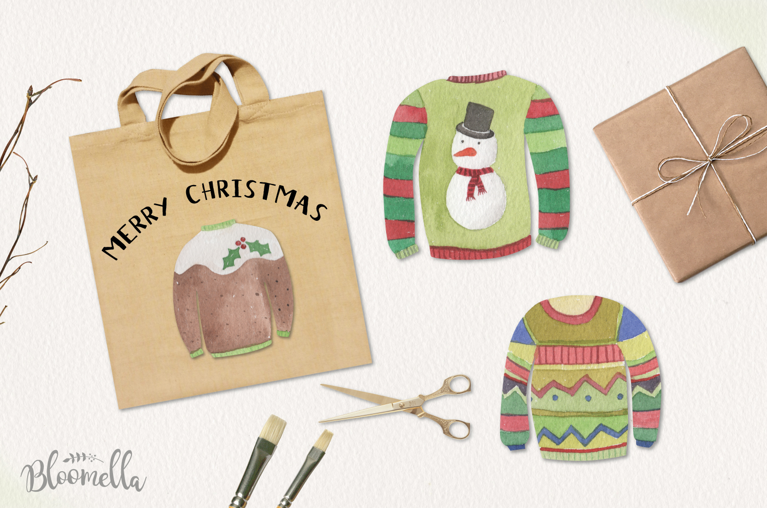 Festive Jumpers Watercolor Elements Christmas Sweaters Xmas example image 3