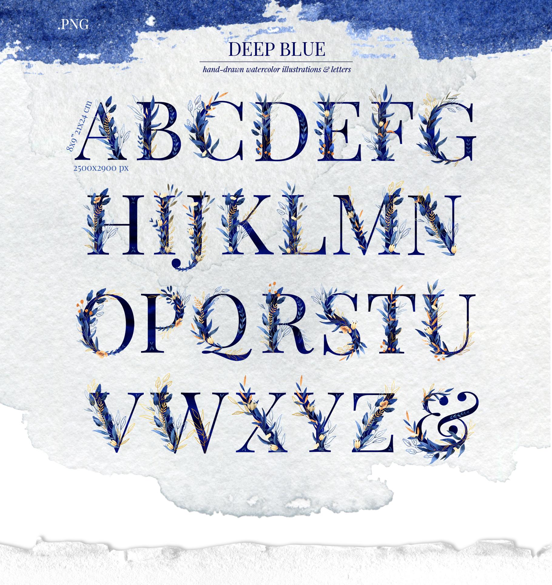 Deep Blue Alphabet Watercolor Design Kit example image 2