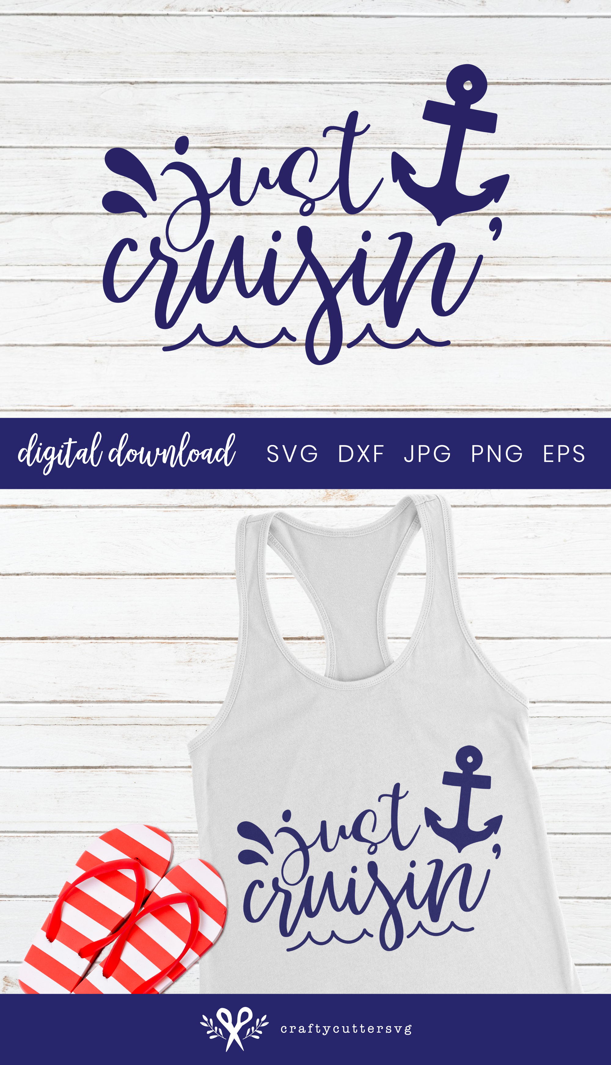 Just cruisin Svg Cut File Sea Anchor Clipart example image 3