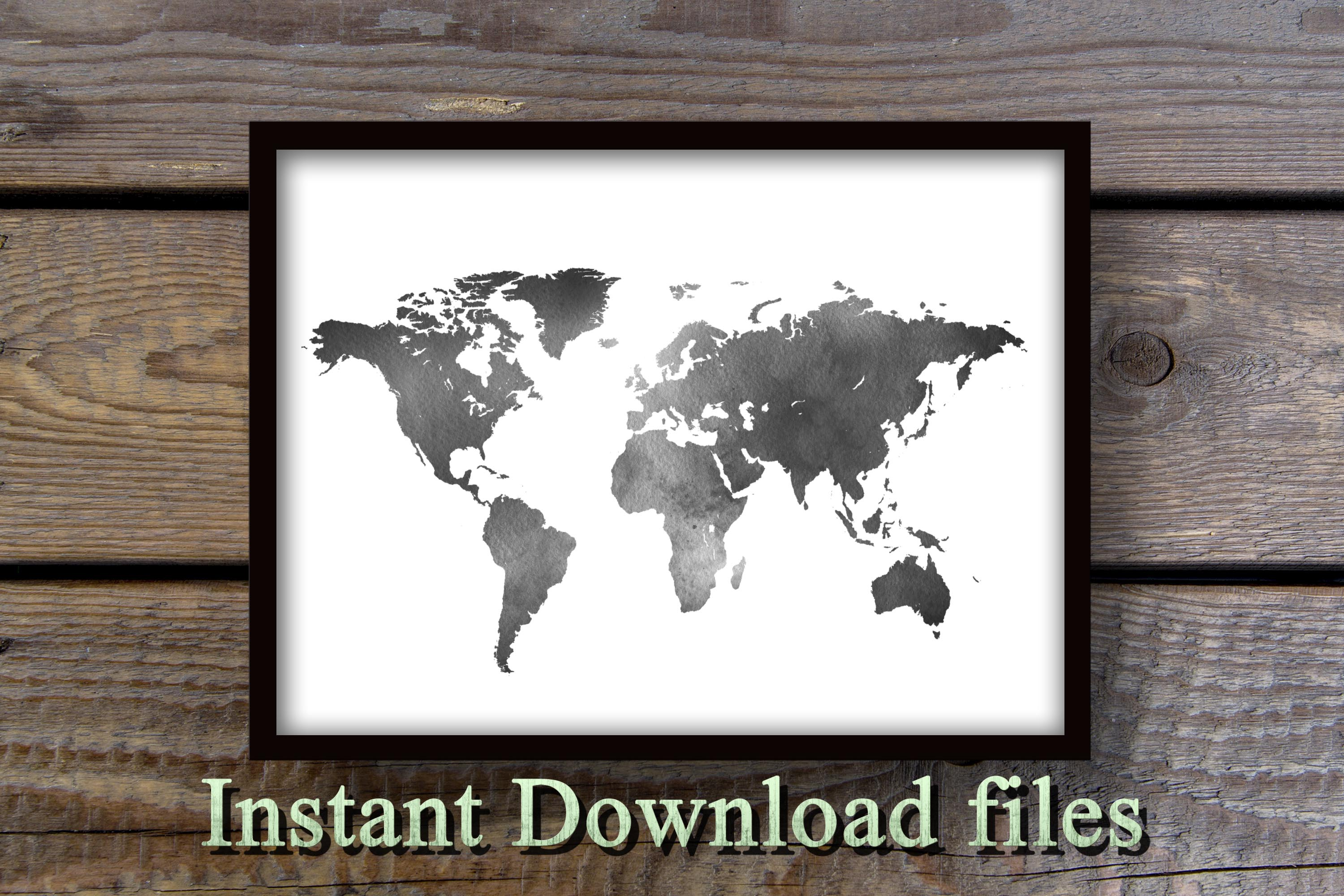 Black and White World map wall art printable download files example image 1