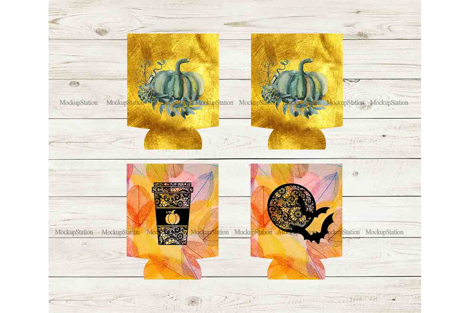 Fall Can Cooler Sublimation Template Bundle, Halloween PNG example image 3
