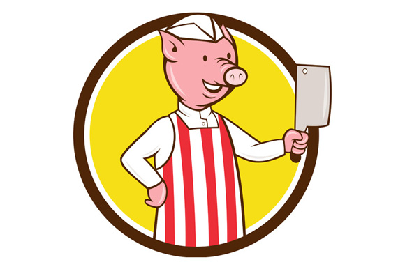 Butcher Pig Holding Meat Cleaver Circle Cartoon example image 1