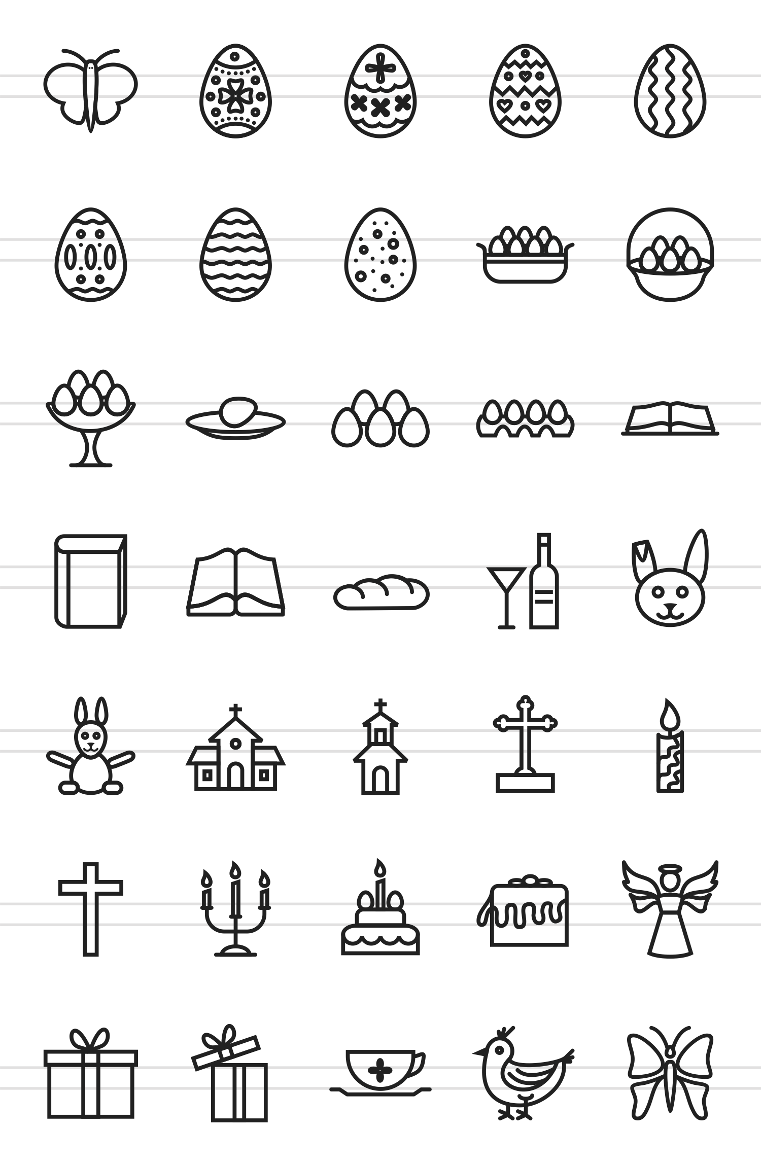 35 Easter Line Icons example image 2