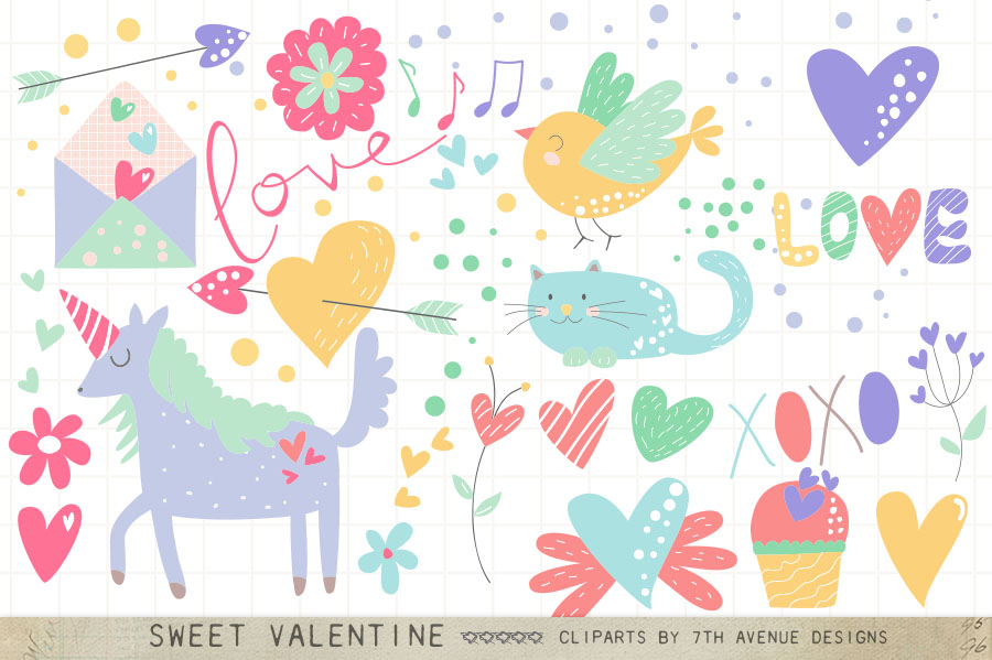 Sweet Valentine Cliparts example image 1