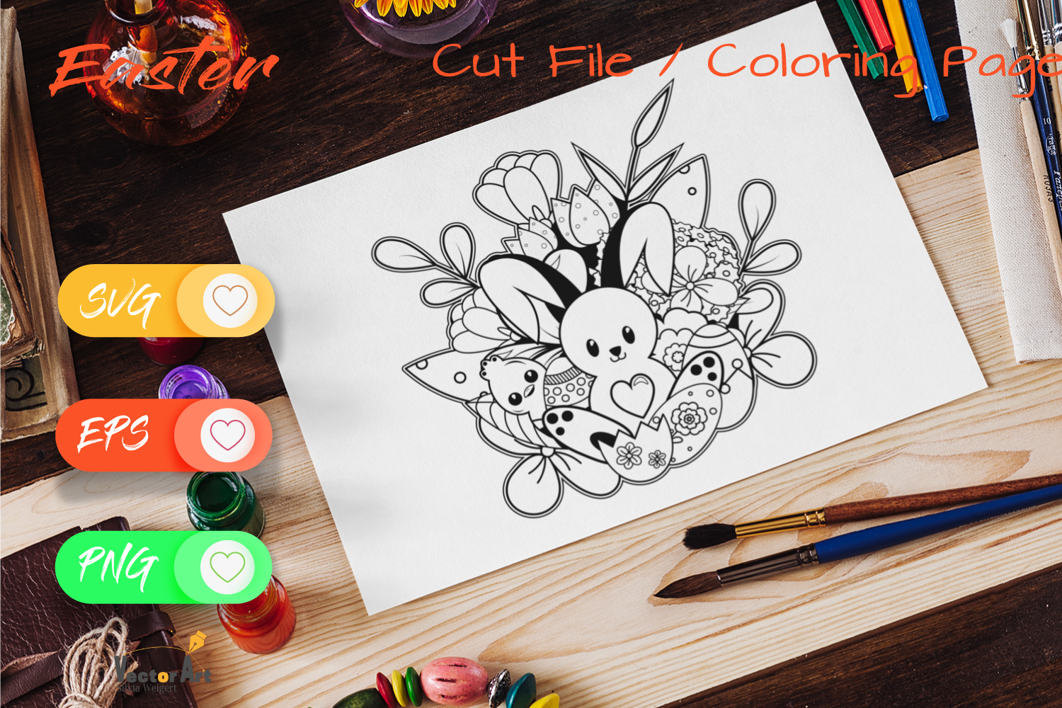 The cute Bunny- Cut File and Coloring Page example image 2