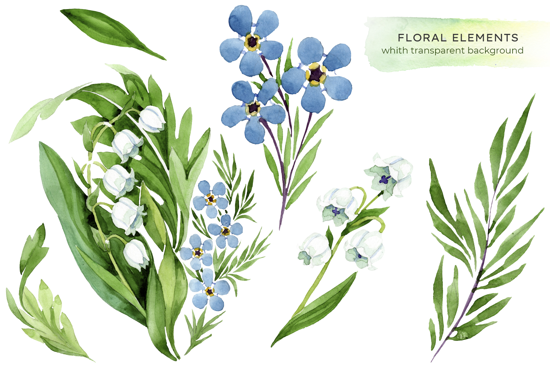 lily of the valley watercolor and forget-me-nots png example image 4
