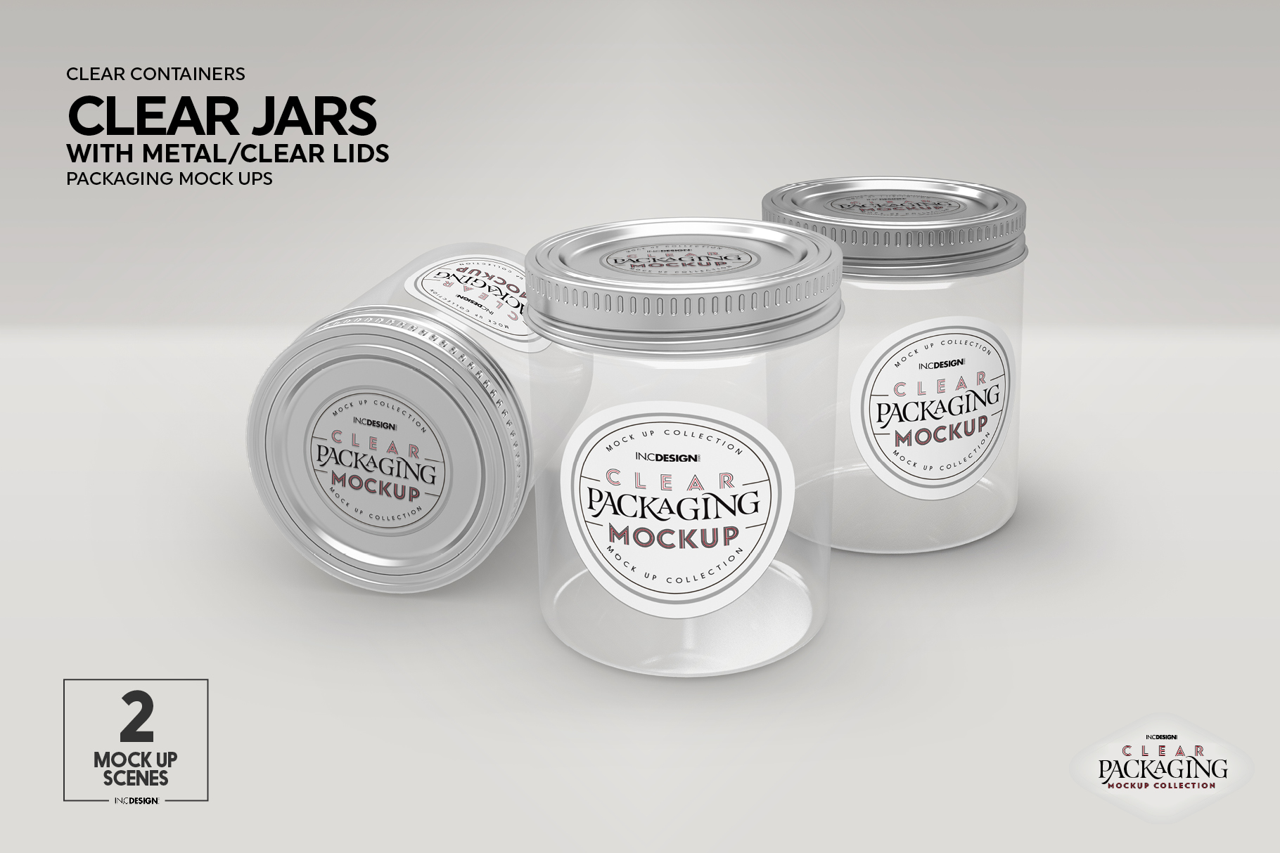 Clear Jars with Metal /Clear Lids Mockup example image 11