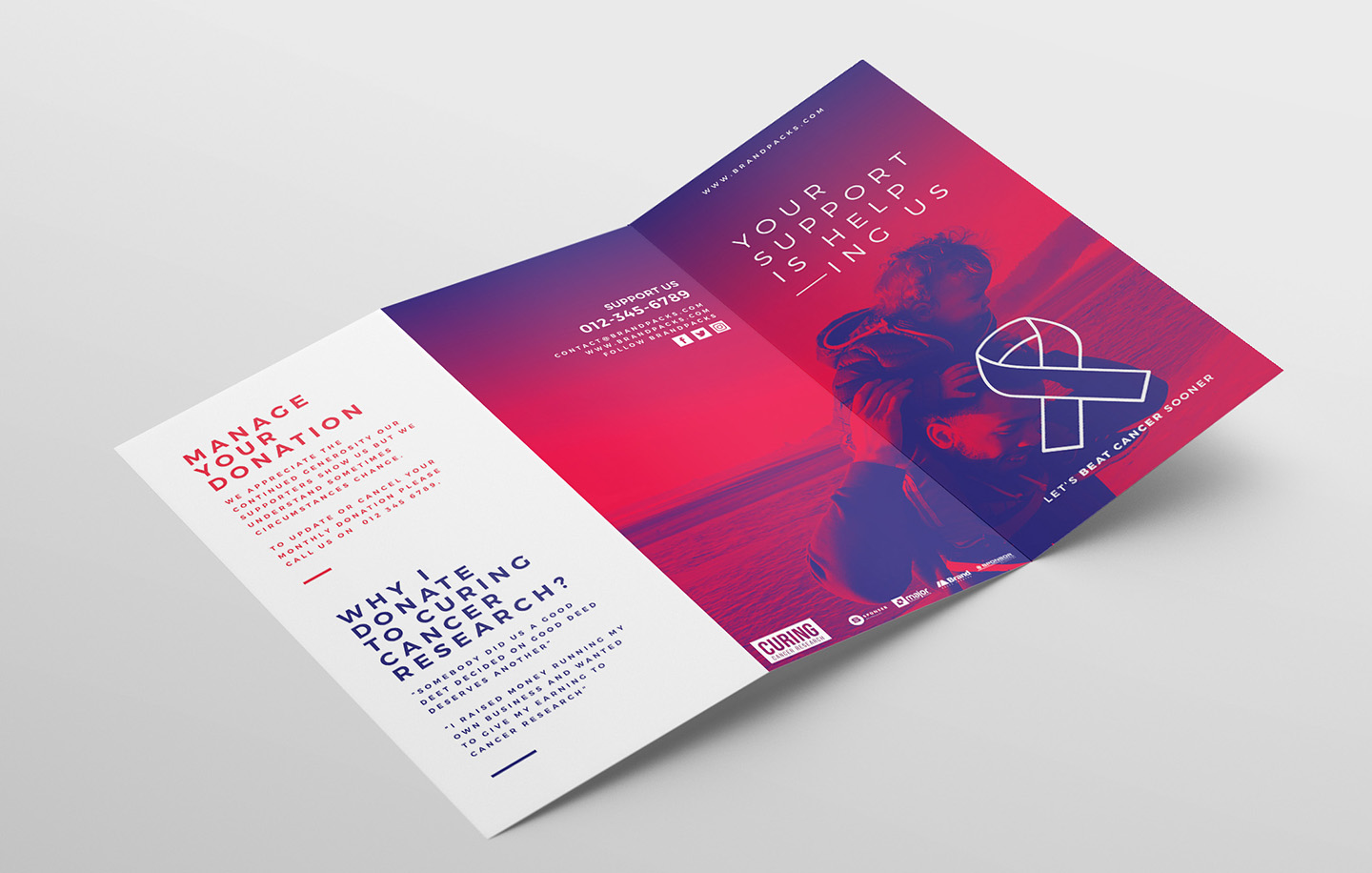 Cancer Charity Tri-Fold Brochure Template example image 4
