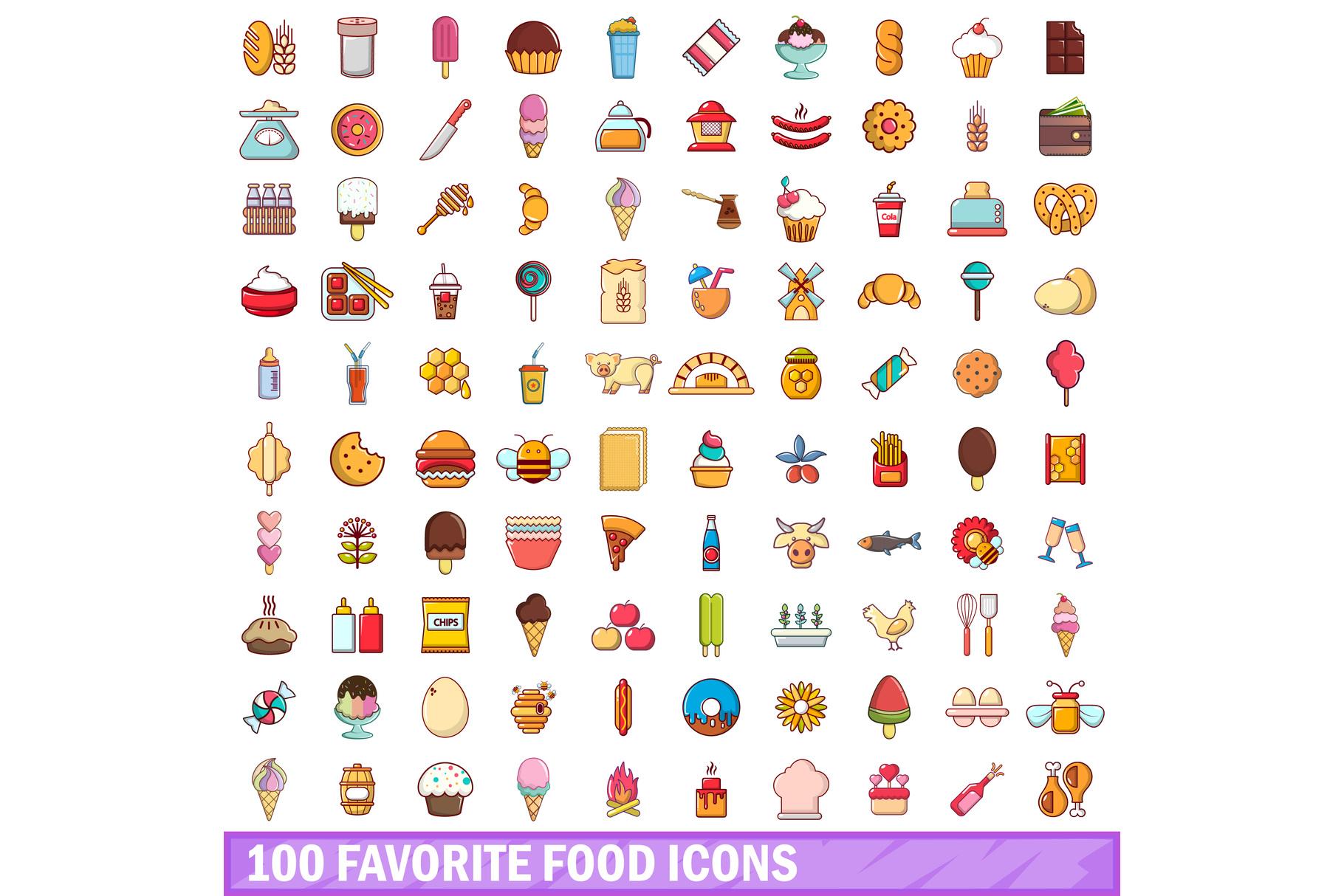 100 favorite food icons set, cartoon style example image 1