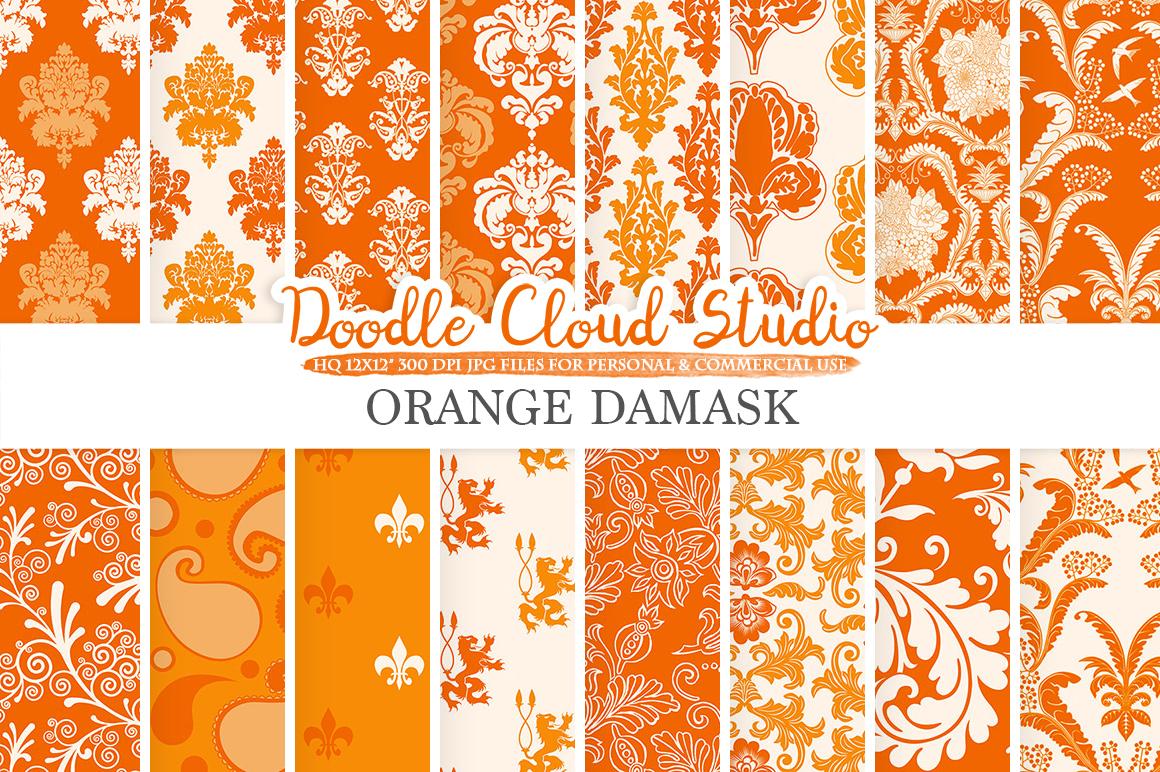 Orange Damask digital paper, Swirls patterns, Digital Floral Damask, Orange background, Instant Download for Personal & Commercial Use example image 1