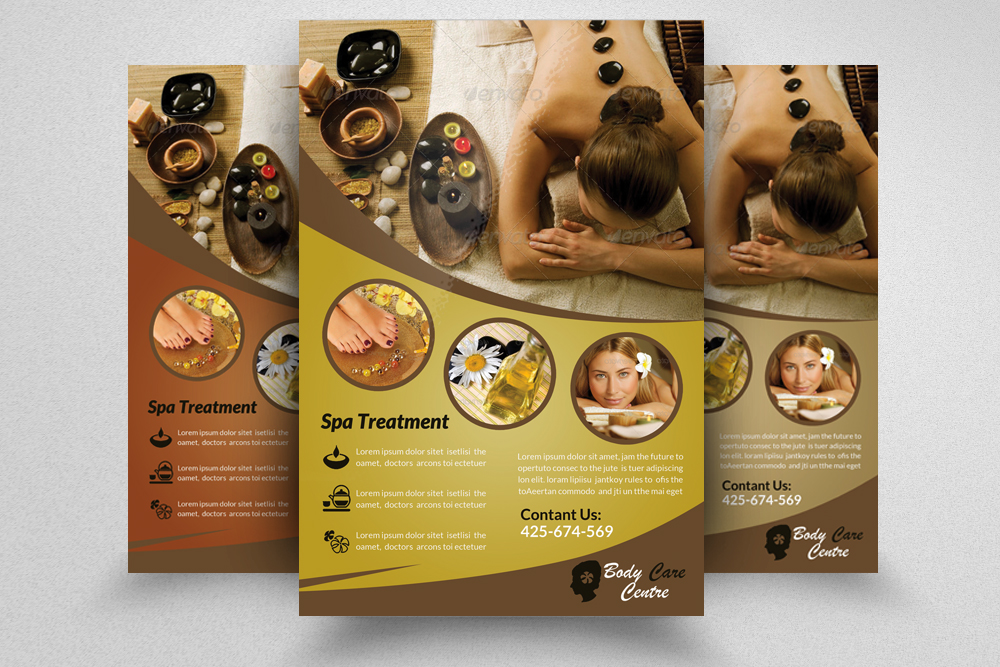 6 Beauty Spa & massage Centre Flyers Bundle example image 3