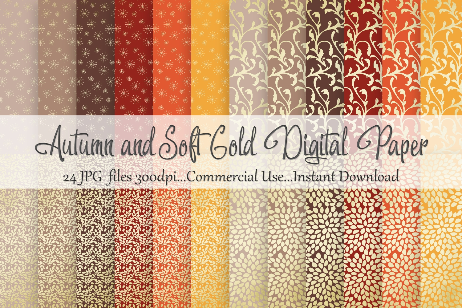 Autumn Fall Soft Gold Digital Paper example image 1
