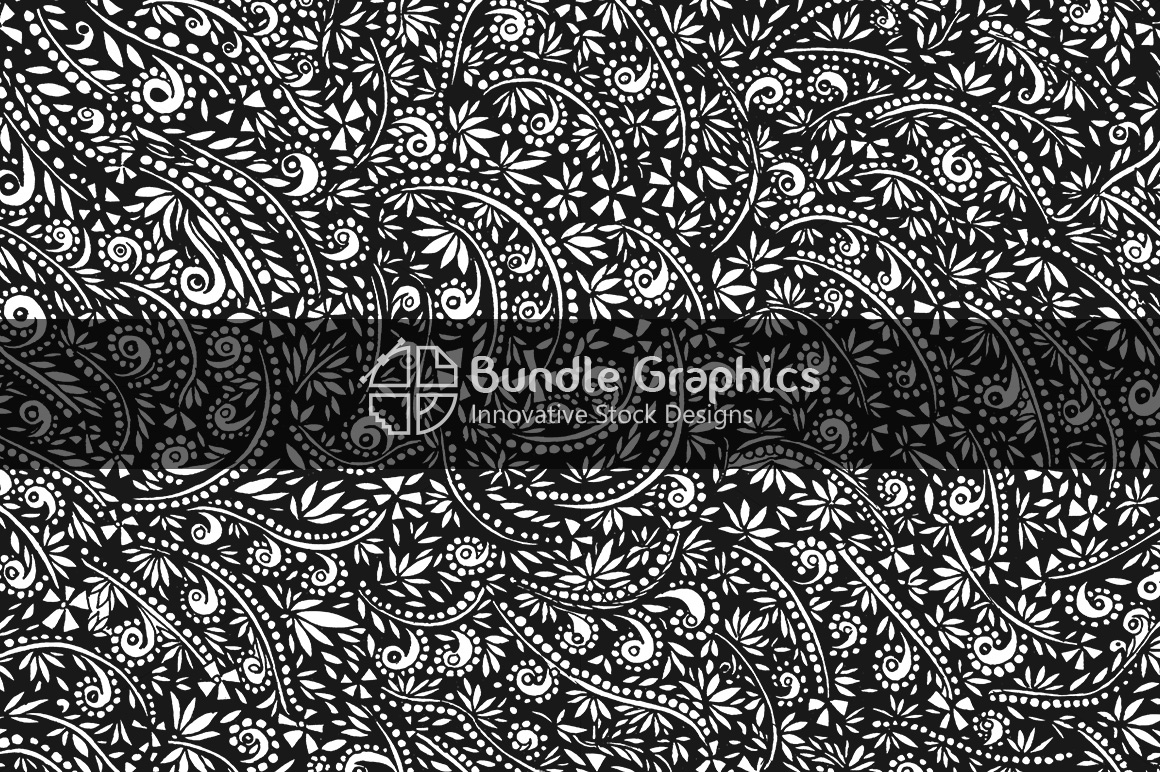 Decorative Nature Background - Black Pen & Ink Handmade Graphics example image 1