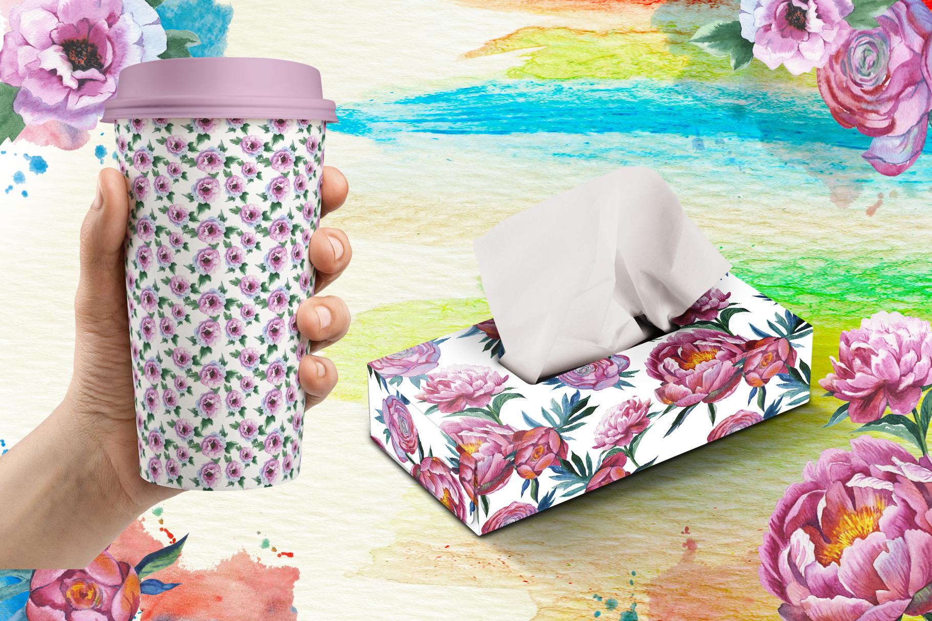 Colorful peonies JPG watercolor flower set  example image 6