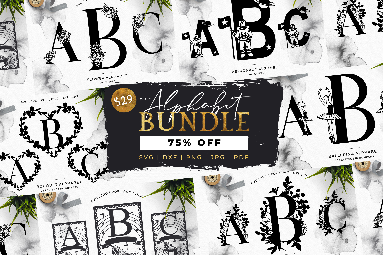 MEGA BUNDLE! 6 x Alphabet Cut Files - SVG | Papercut example image 1