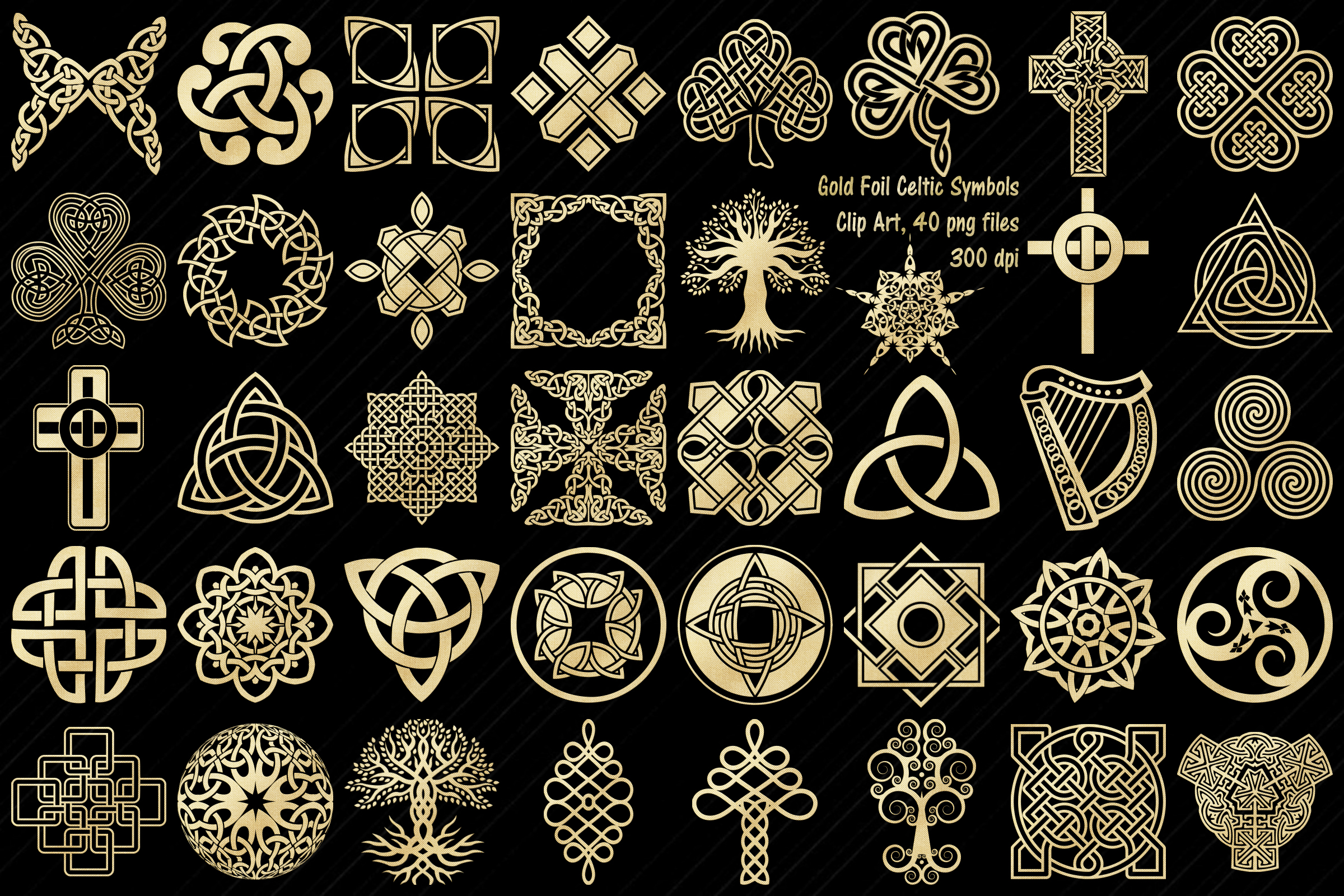 Gold Foil Celtic Symbols, Knots, Crosses Clip ArtSymbols