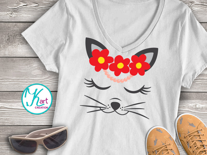 Cat face with flowers eyelashes svg dxf cut file printable example image 2