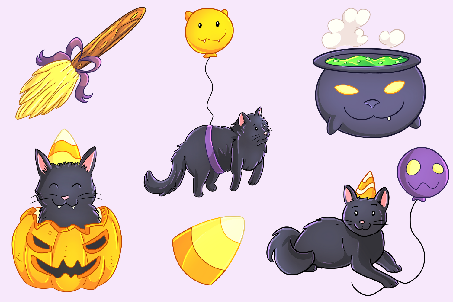 Halloween Party Cats Clip Art Collection example image 3
