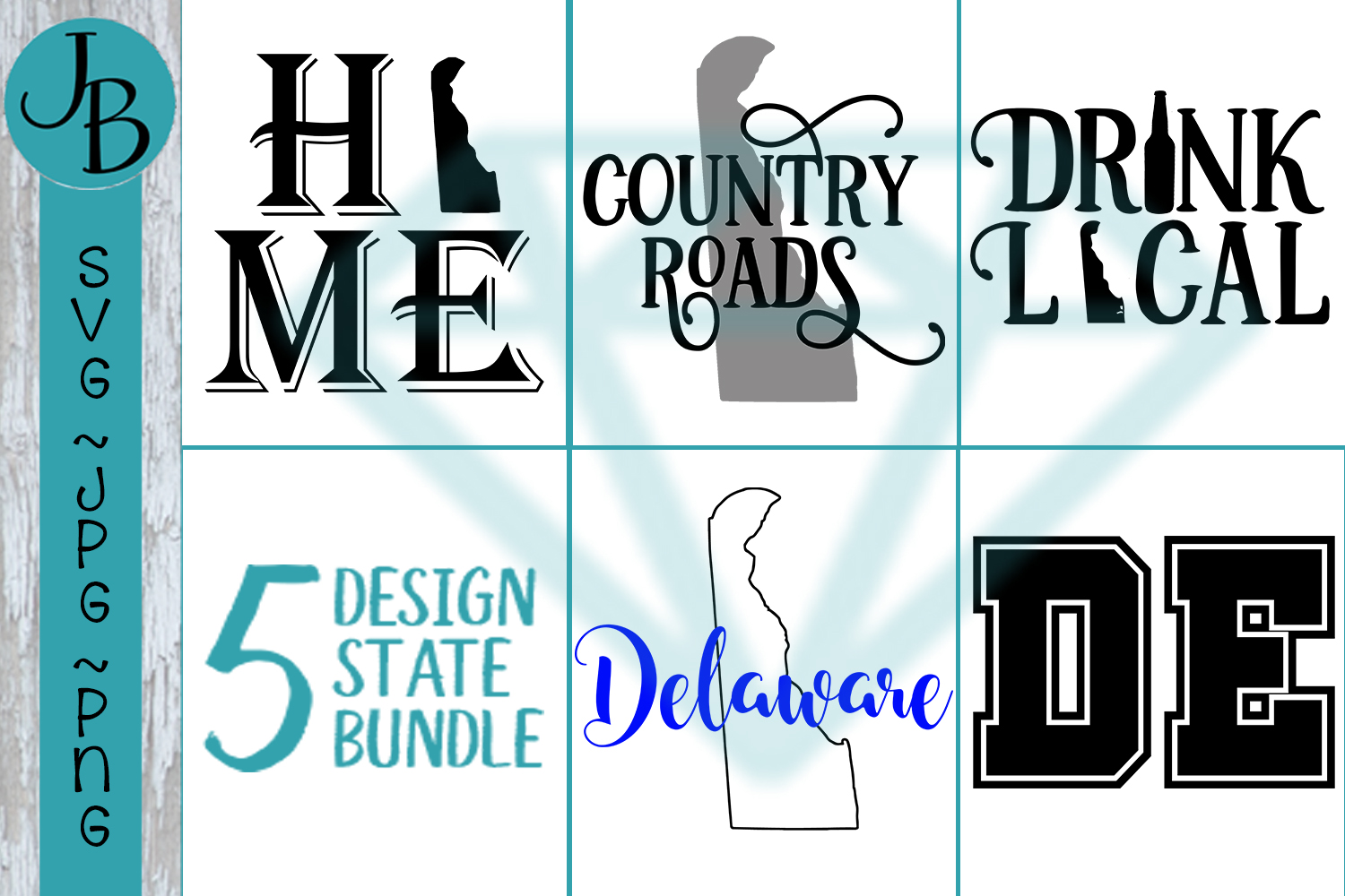 Delaware State Pride Bundle, DE SVG Bundle example image 1