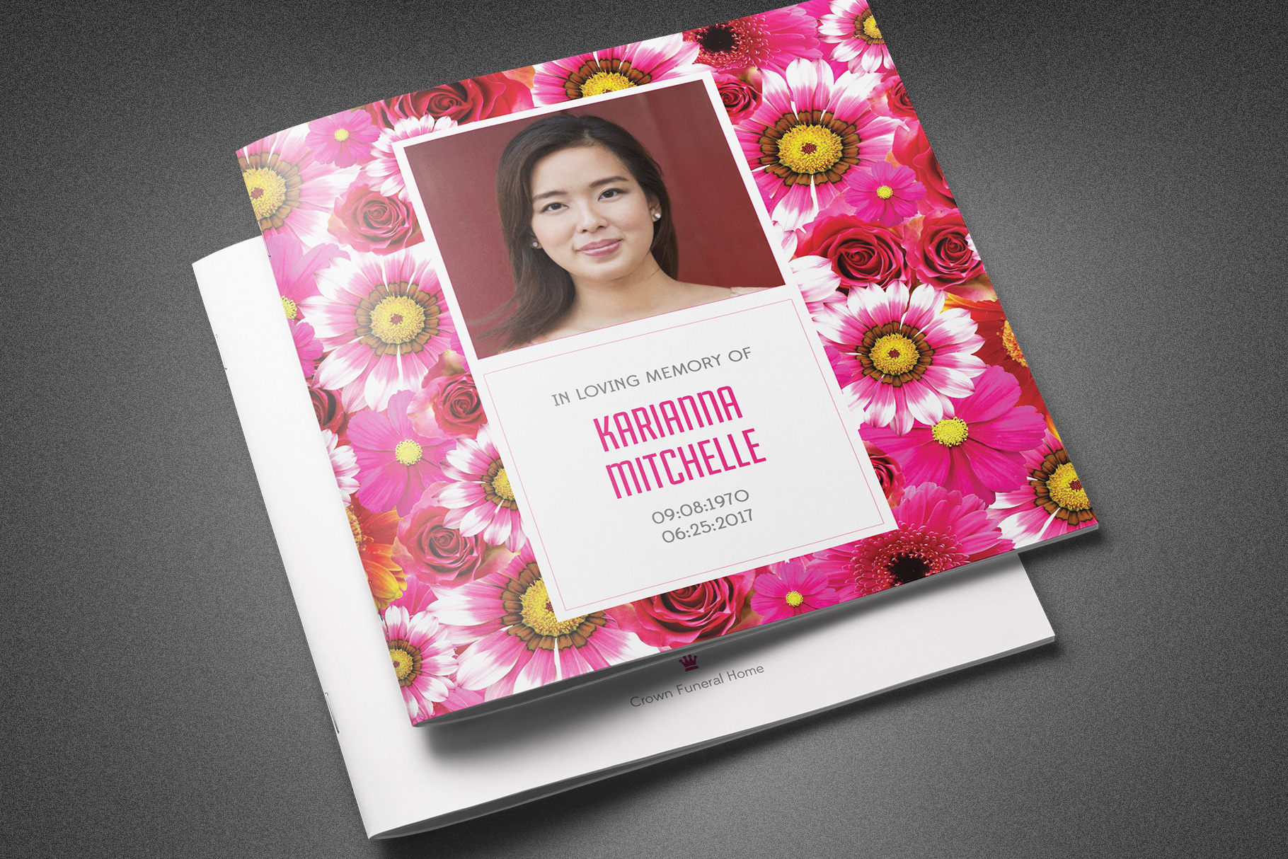 Flower Bud Funeral Program Template example image 1