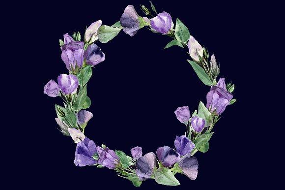 Eustoma Clip Art Set + Wreath example image 6