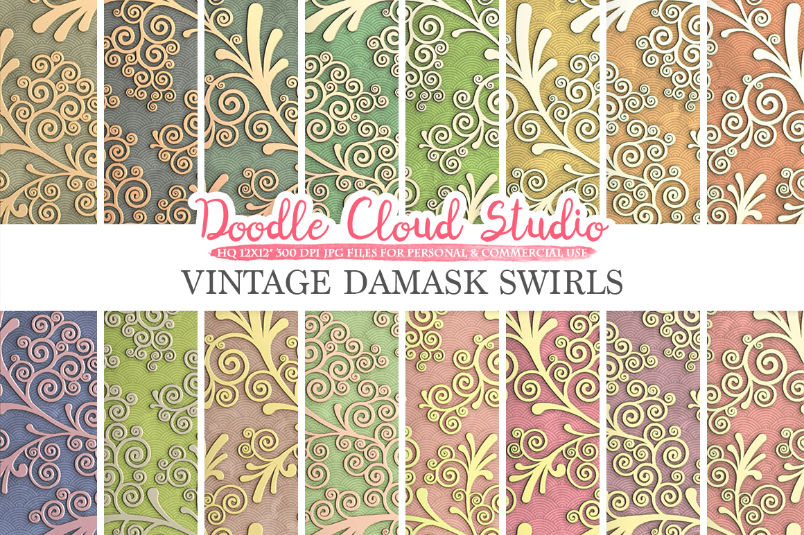 Vintage Damask Swirls digital paper, Swirls pattern, Digital Swirls colorful gradient background, Instant Download Personal & Commercial Use example image 1