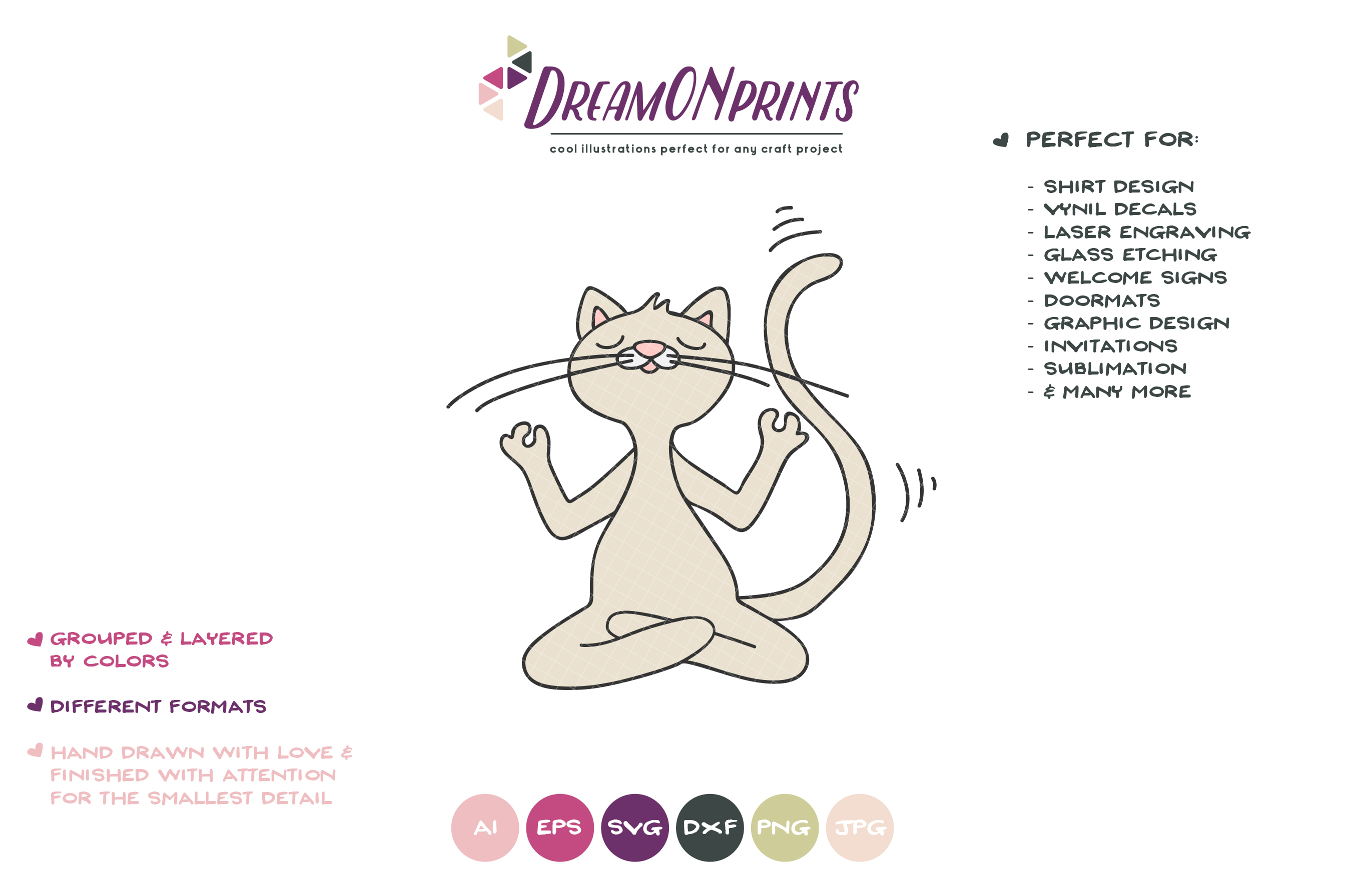 Yoga Cat SVG | Meditating Cat Illustration example image 2