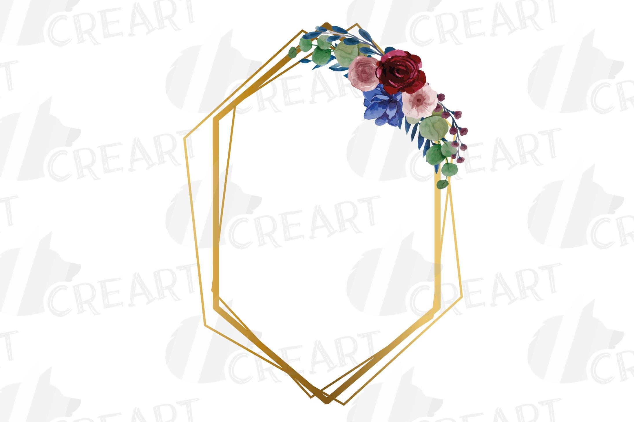 Watercolor elegant floral borders clip art. Wedding frames example image 8