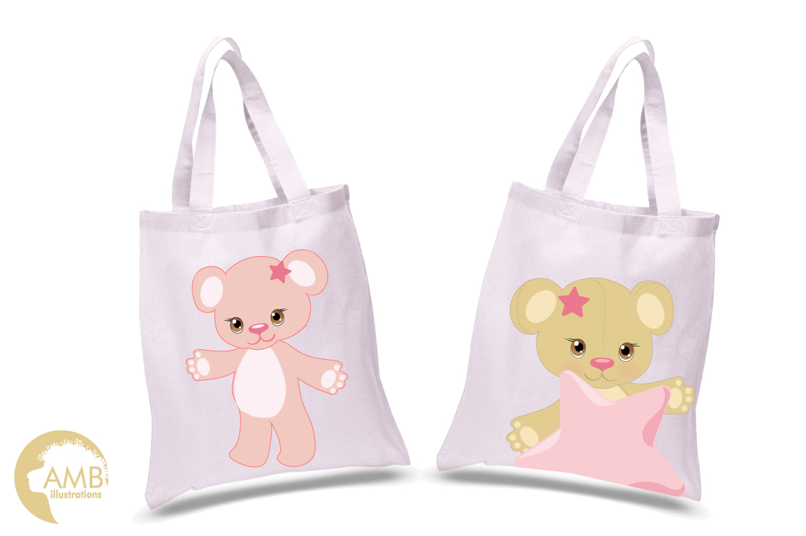 Teddy bear, nursery, baby girl, baby pink bear, clipart, graphics, llustrations AMB-1450 example image 4