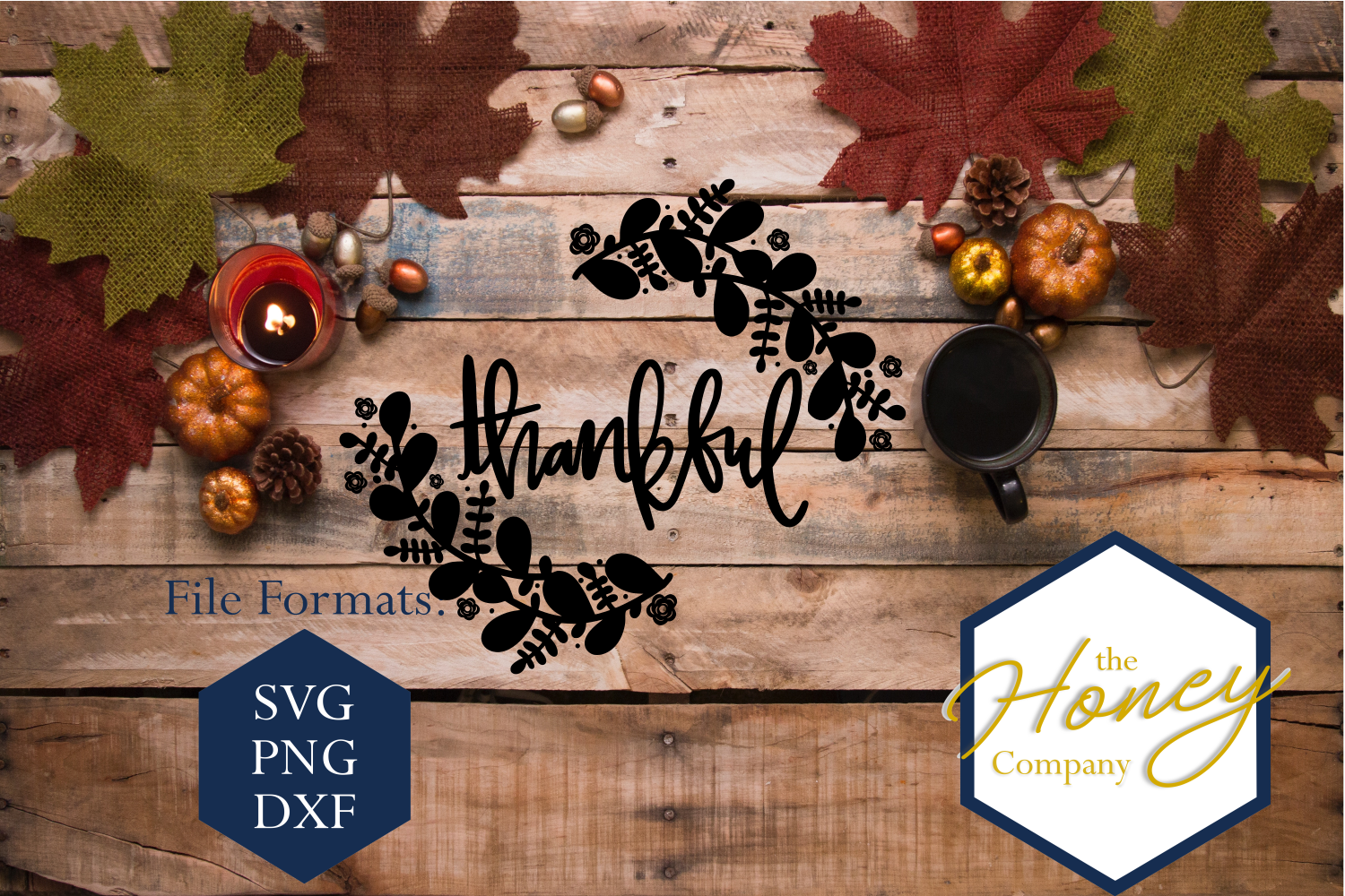 Thankful SVG PNG DXF Floral Doodle Hand Lettered Thanks example image 1