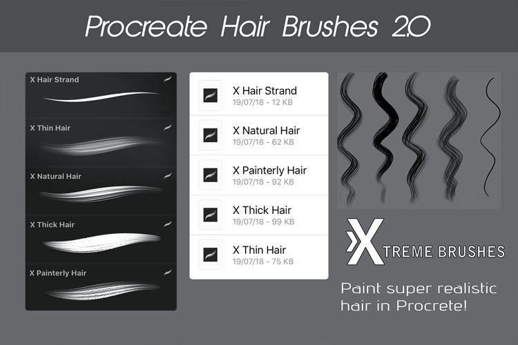 Procreate Hair Brushes 2.0 example image 2