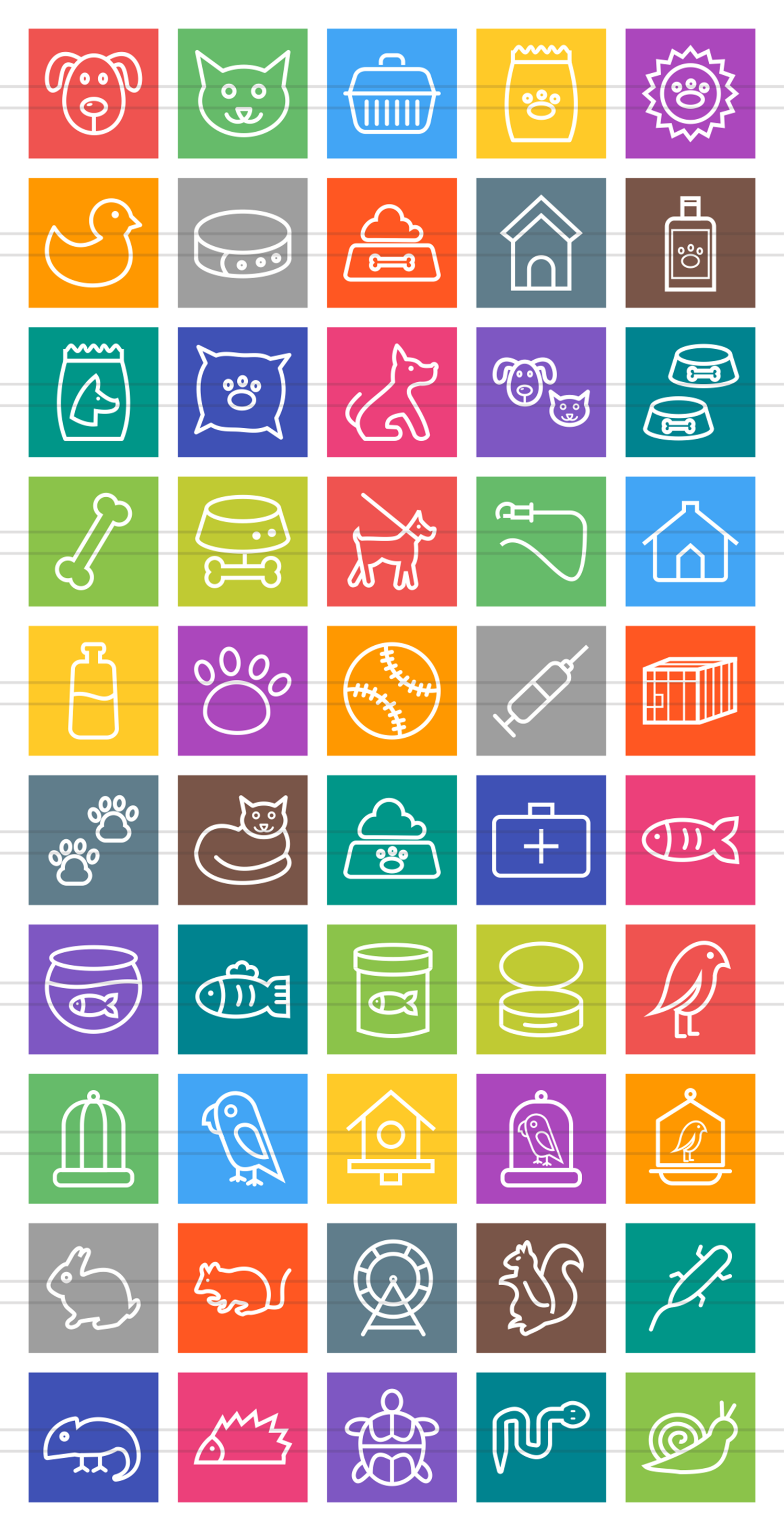 50 Pet Shop Line Multicolor B/G Icons example image 2