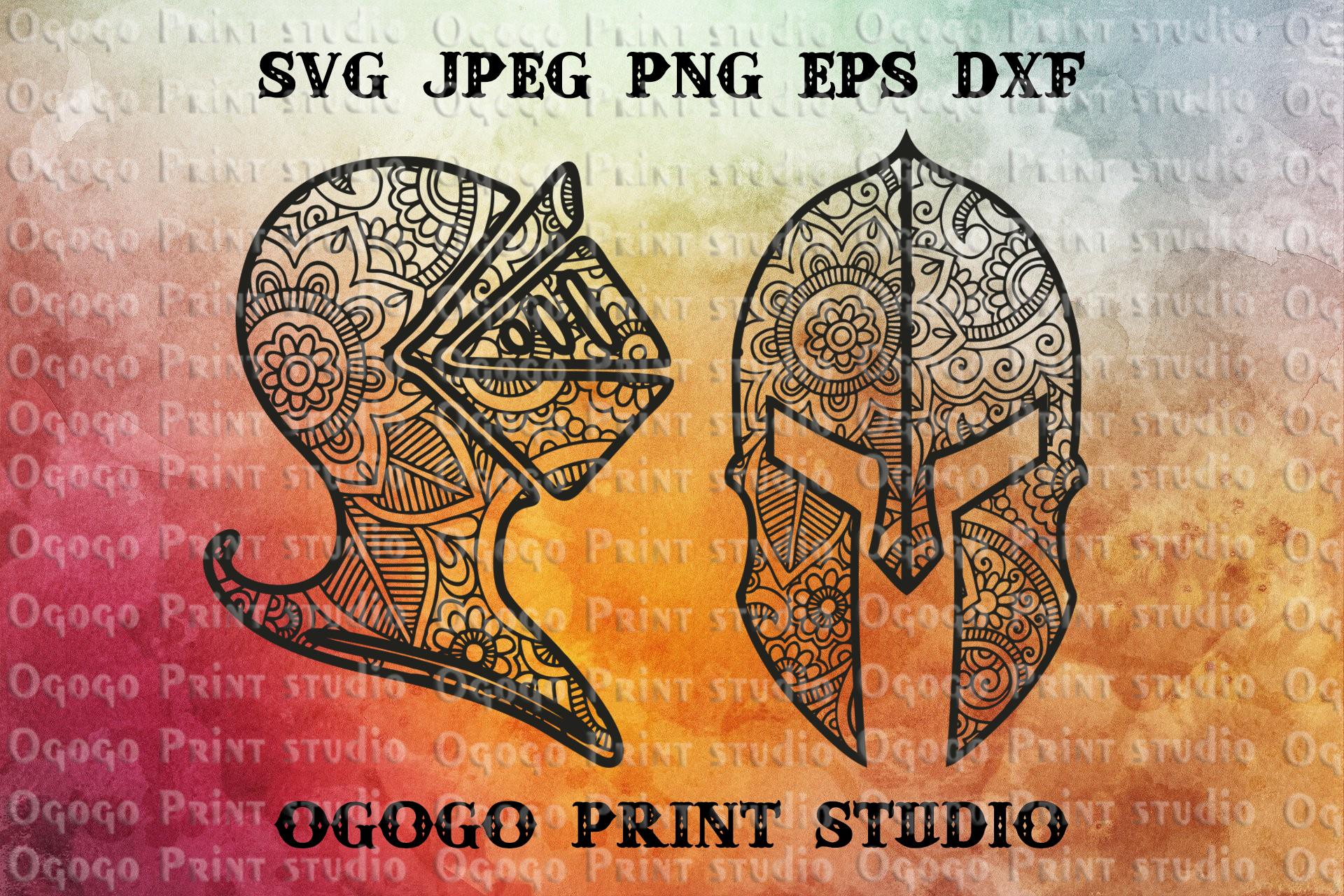 Knight Helmet SVG, Knight SVG, Mandala svg, Zentangle Svg example image 1
