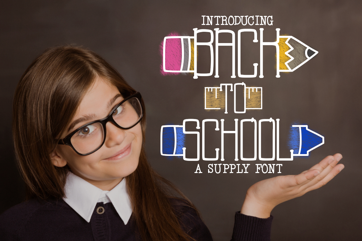 Back to School a Supply Font example image 1