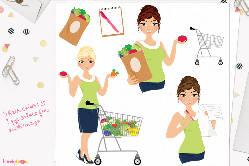 Woman groceries character clip art L261 Carly example image 1