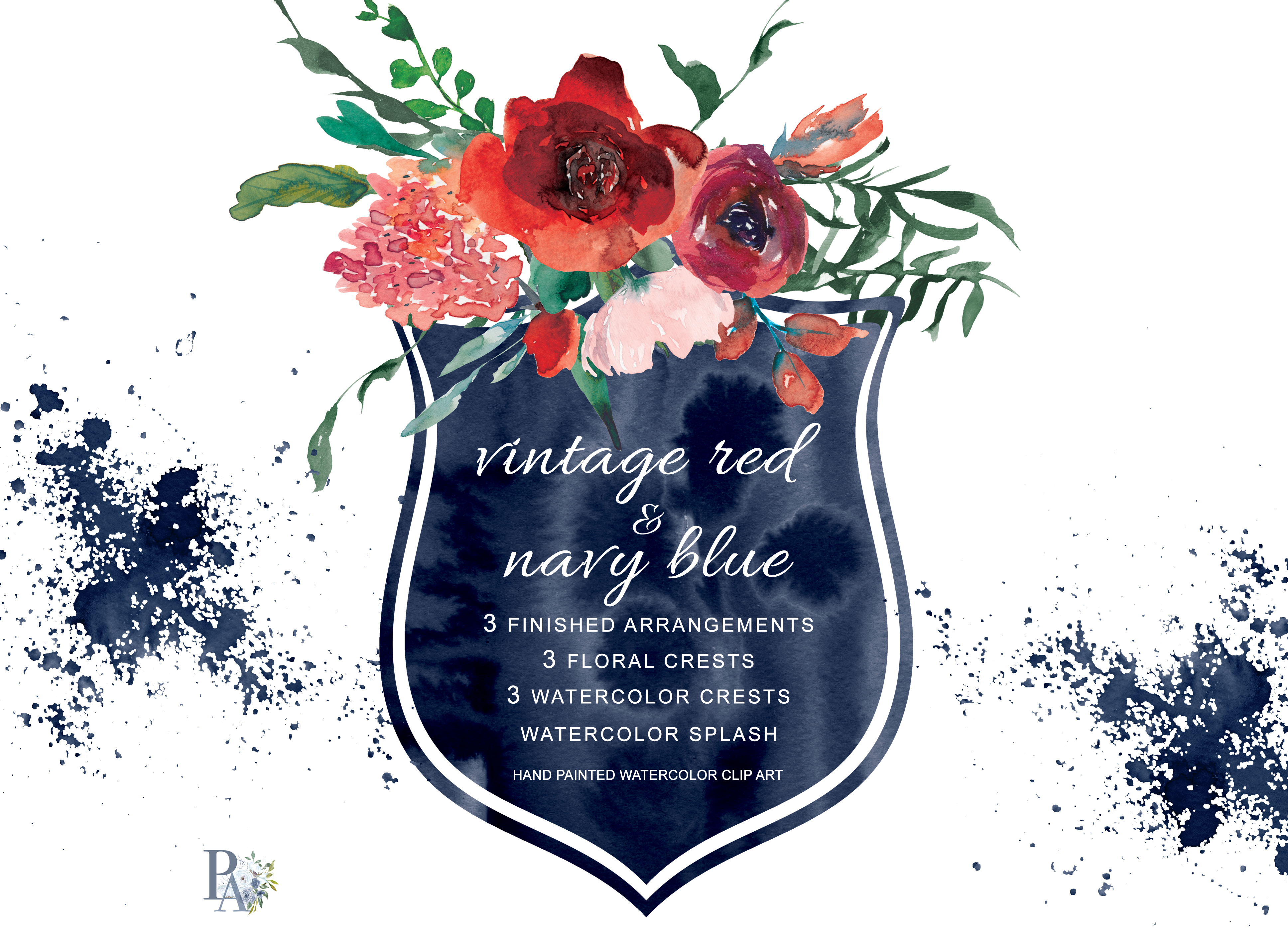 Watercolor Vintage Red & Navy Blue Flowers Clipart