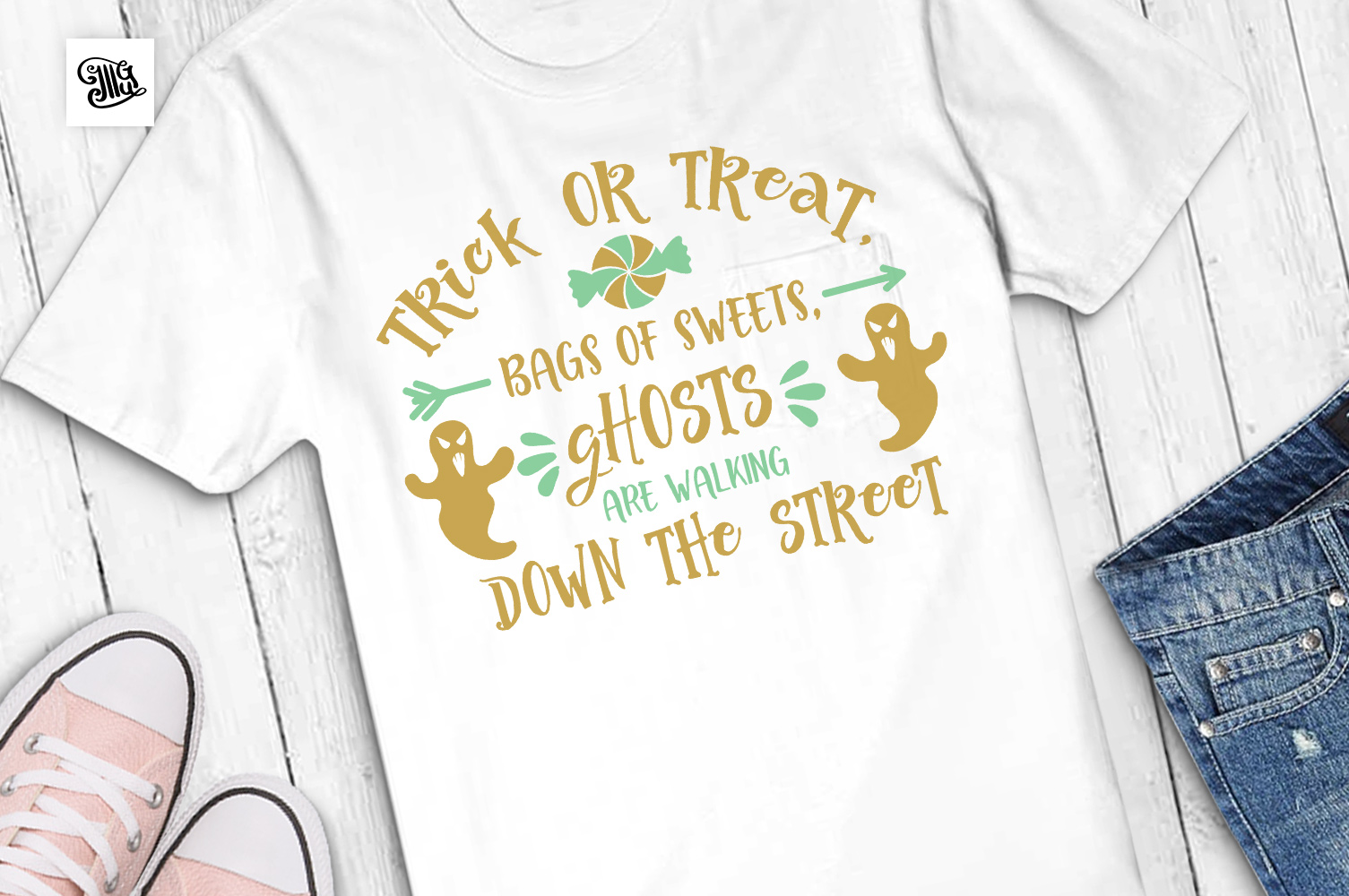 Trick or treat, bags of sweets, ghosts are walking example image 1