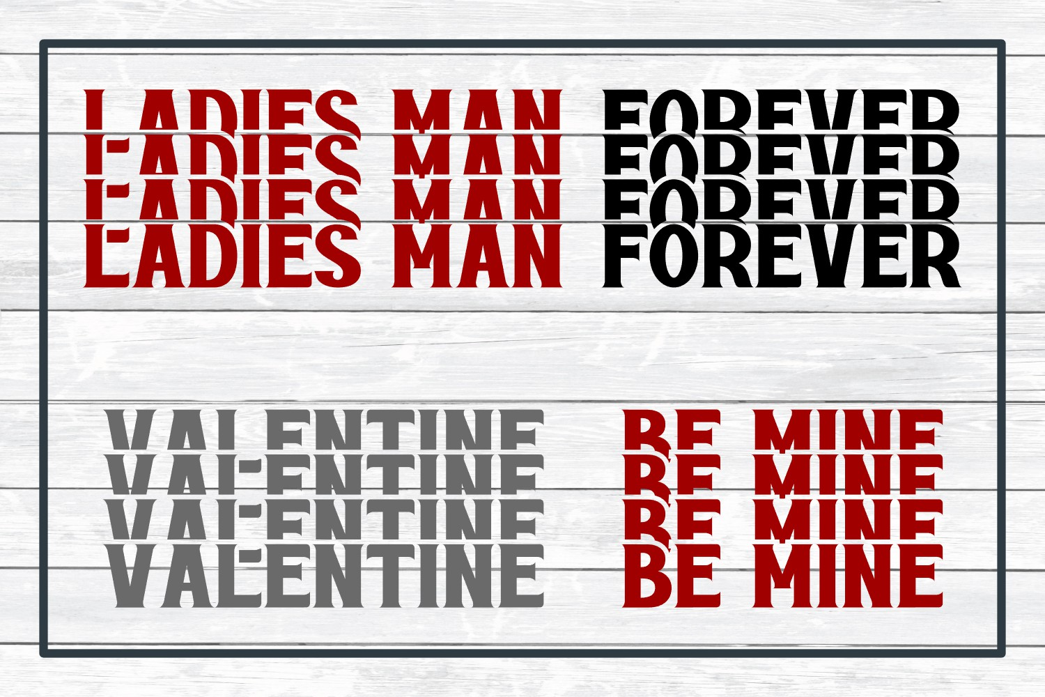 Valentine Stacked Word Bundle, SVG Cut Files for Crafters example image 3