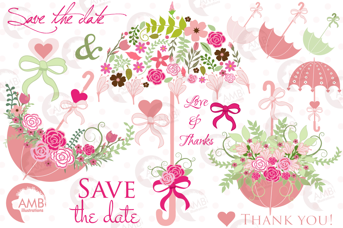 Umbrella Floral clipart, graphics, illustrations AMB-871 example image 5