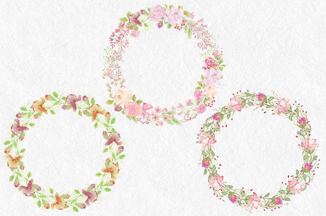 Wedding clip art bundle in blush roses example image 3