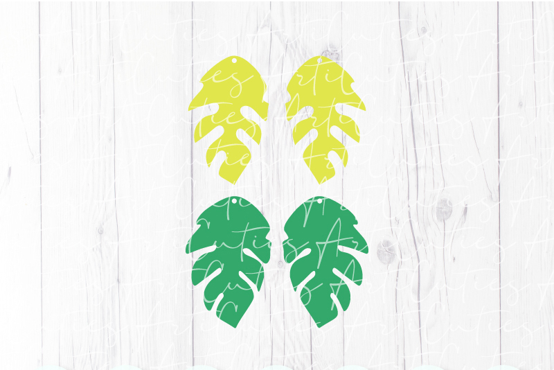 Leaves earrings template SVG, DIY earrings template example image 2