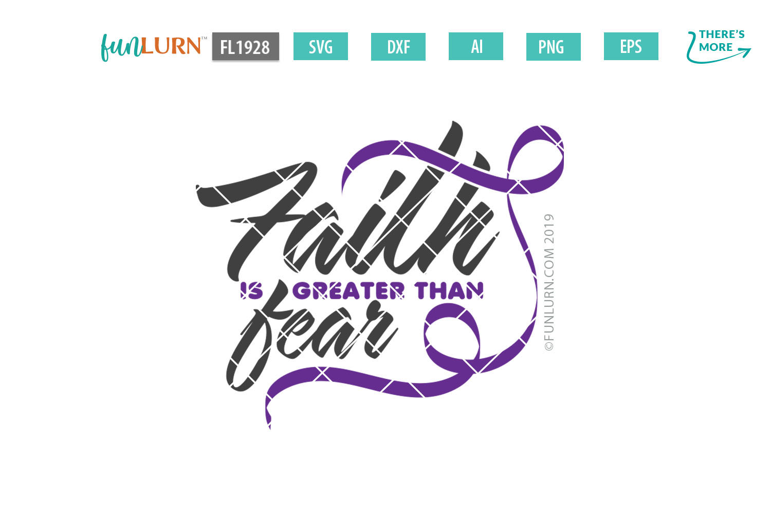 Faith is Greater Than Fear Purple Ribbon SVG Cut File example image 2