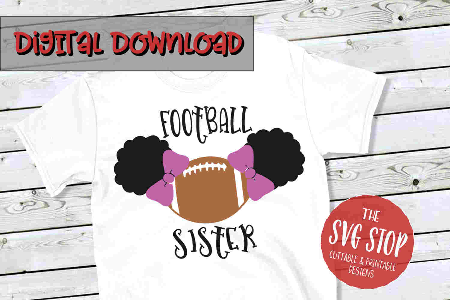 Pigtail Puffs Football Sister -SVG, PNG, DXF example image 1